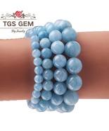 Women Girls Fashion Natural Aquamarines Stone Beads Elastic Bracelet Yog... - $20.92