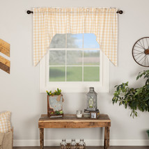 Annie Buffalo Check Swag Set Window Curtains Red Tan Black Gray 36X36 - $28.95