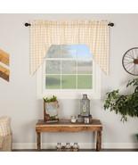 Annie Buffalo Check Swag Set Window Curtains Red Tan Black Gray 36X36 - $28.95