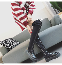 83B018 elegant over-the-knee stretchable clothes boots, Size 5-9, black - $62.80
