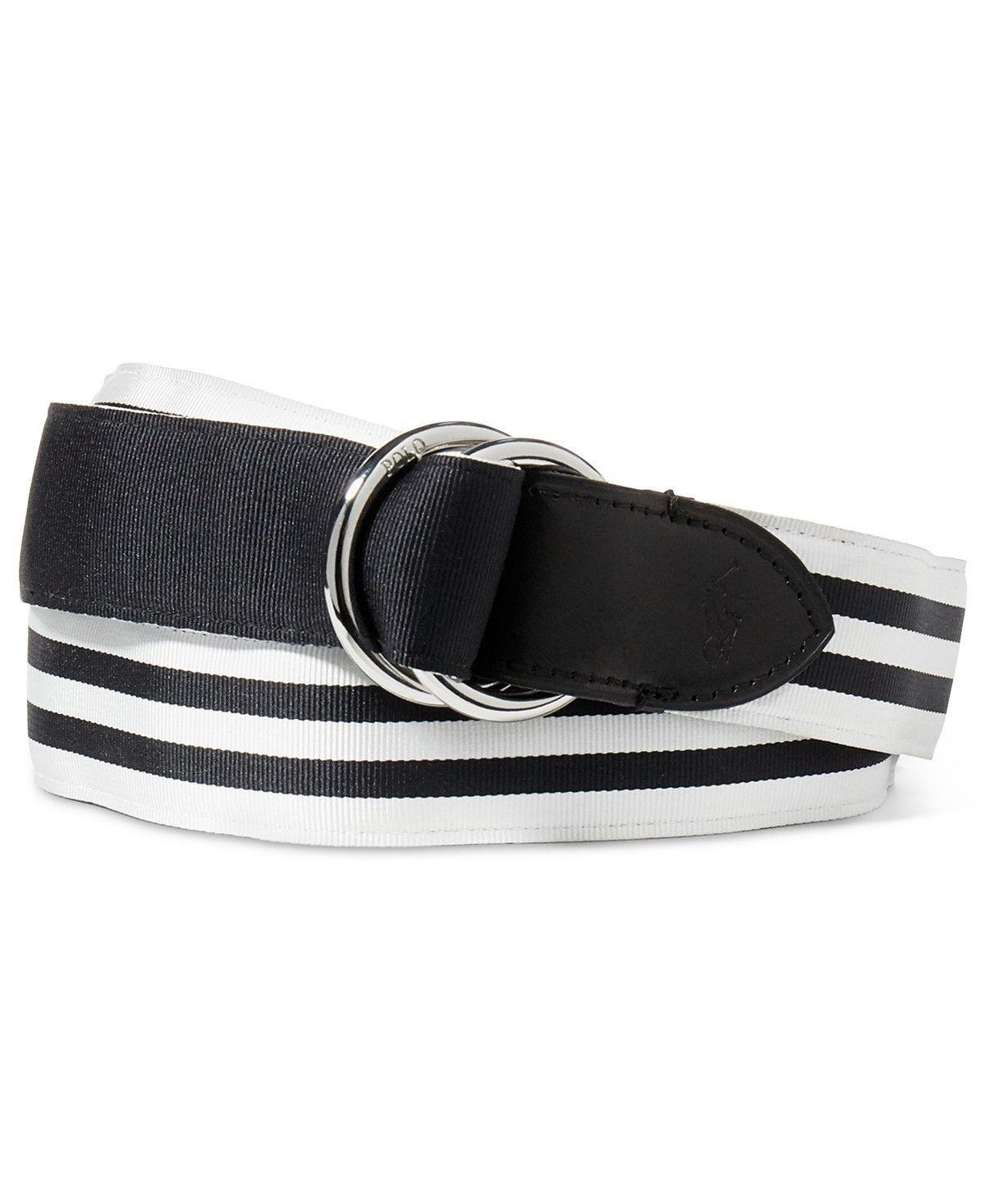 Polo Ralph Lauren Mens Reversible Striped Belt White Black Size Large - 68  -NWT -  29.95 1f225130d41f2