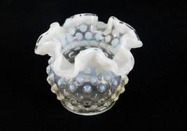 Fenton Art Glass Vase, Wildflowers, Potpourri, Hobnail Body w/White Ruff... - $14.65