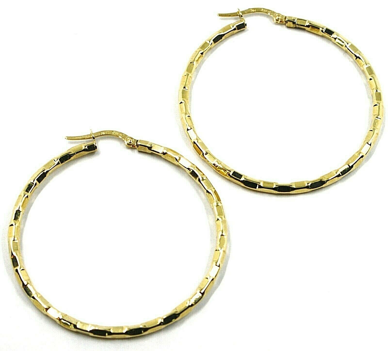 18K YELLOW GOLD CIRCLE HOOPS PENDANT EARRINGS, 4.5 cm x 3 mm WORKED CHECKERED