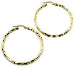 18K YELLOW GOLD CIRCLE HOOPS PENDANT EARRINGS, 4.5 cm x 3 mm WORKED CHECKERED image 1