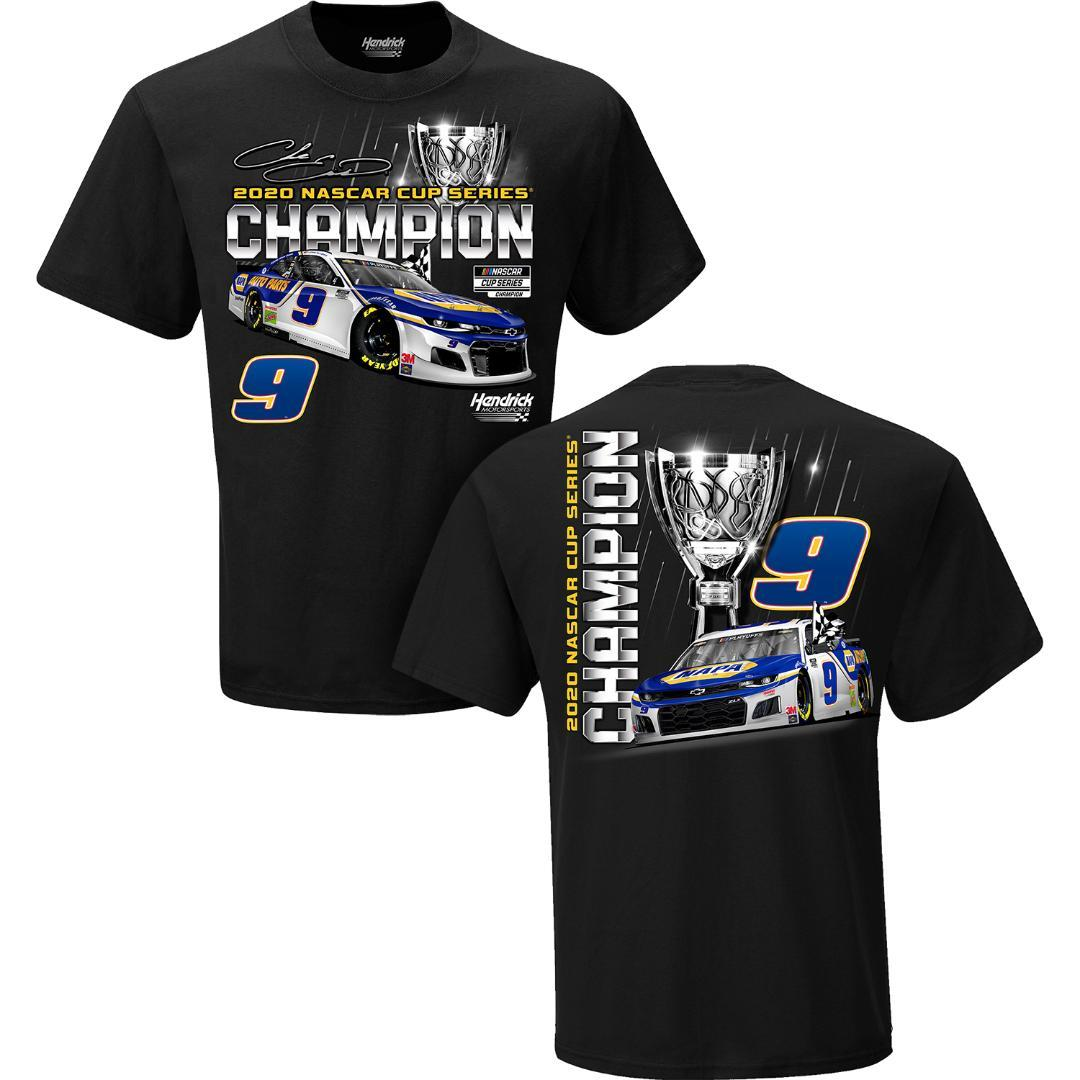 Primary image for Chase Elliott #9 is 2020 NASCAR Champion on a Large black tee shirt