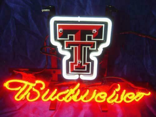 """Budweiser Texas Tech Red Raiders Neon Sign 14""""x10"""" Beer Bar Light Artwork Man"""