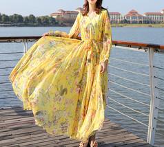 Long Sleeve Plus Size Floral Chiffon Dress Lady Maxi Long Chiffon Flower Dress   image 6