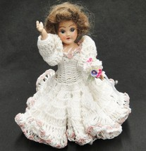 Vintage Hard Plastic Doll w Sleep Eyes Wearing Handmade Crocheted Bridal... - $22.76