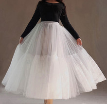 Long White Tulle Skirt WHITE Wedding Tulle Skirt Puffy Layered Polka Dot Pattern image 5