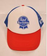 PBR Pabst Blue Ribbon Trucker Hat Snapback Cap Mesh Adult Beer Retro USA... - $25.74