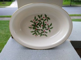 Lenox Special LARGE DECAL Holiday Holly Oval Vegetable Serving Bowl 9-3/... - $39.00