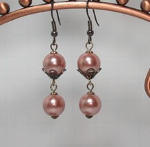 Pink Color Shell Bead Rosary Dangle Earrings HC - $9.80