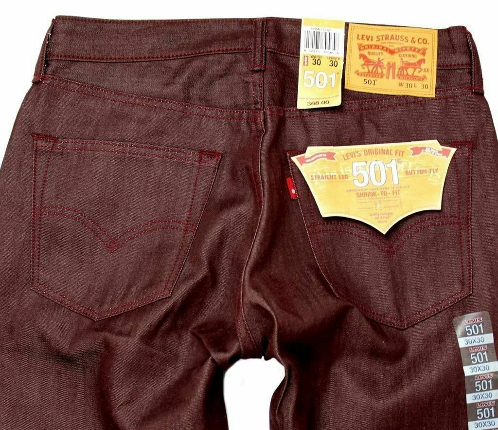 Levi's 501 Men's Shrink To Fit Straight Leg Jeans Button Fly Red 501-1577