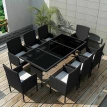 vidaXL Outdoor Dining Set 17 Pieces Poly Rattan Wicker Black Garden Chai... - $562.99