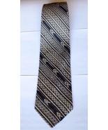Mezzano Men's Neck Tie 75% Silk 25% Cashmere USA Made Stripe Tan Black 5... - $29.69
