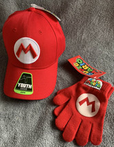 Super Mario Youth Red Snapback Hat / Baseball Cap & Matching Gloves NWT - $17.81