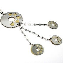 SILVER 925 NECKLACE, CHAIN BALLS, FLOWER, HEARTS, DISCS HANGING, BICOLOR image 3