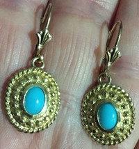 14k Earrings Turquoise Sleeping Beauty Lever Back Pierced Vintage Estate... - $386.04