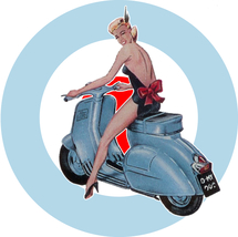Scooter Girl Target Window sticker scooters Vespa Lambretta mods pin-up ... - $5.75