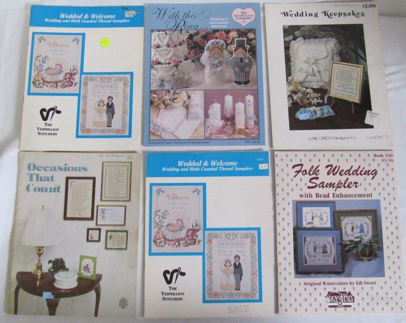 LOT OF 6 CROSS STITCH BOOKLETS FEATURING WEDDING TYPE SAMPLERS - $14.95