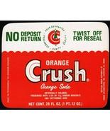 Vintage soda pop bottle label ORANGE CRUSH SODA 28oz unused new old stoc... - $9.99