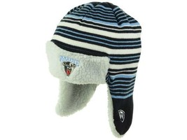 Maine Black Bears NCAA Battler Striped Trapper Style Knit Cap Ear Flap Hat Toque - $20.85