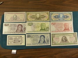 (9) OLD MINT UNCIRCULATED SOUTH AMERICAN NOTES EXTREMELY ATTRACTIVE - $11.88