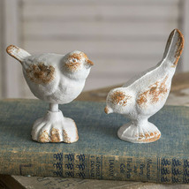Pair Rustic White Cast Iron Bird Figurines Decorative Home Decor New Whi... - $24.95