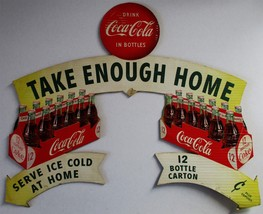 Original Doublesided Coca-Cola Cut-Out Cardboard Advertisement circa 1954 - $700.00