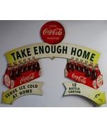 Original Doublesided Coca-Cola Cut-Out Cardboard Advertisement circa 1954 - $700.00