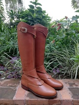 Tan Handmade Tall Leather Riding Boots Men Boots for Horse Riding Polo Boots - $388.90 - $398.90