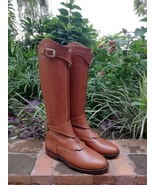 Tan Handmade Tall Leather Riding Boots Men Boots for Horse Riding Polo B... - $388.90+