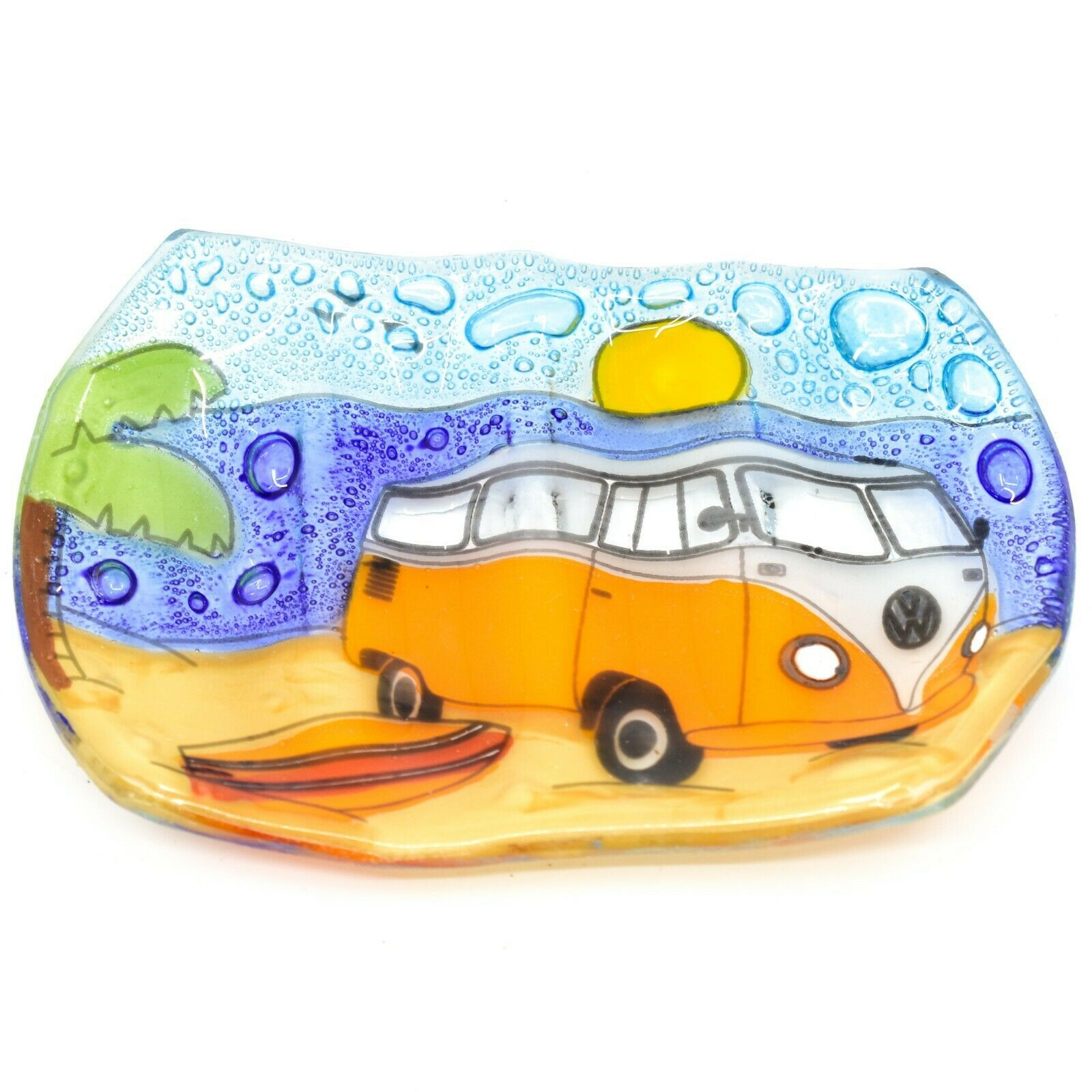 Fused Art Glass Volkswagen Van Surf Beach Design Soap Dish Handmade Ecuador
