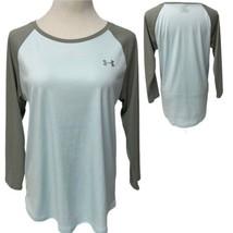 Under Armour HeatGear Loose Long Sleeve Top Light Blue/Gray Women's L (G... - $17.82