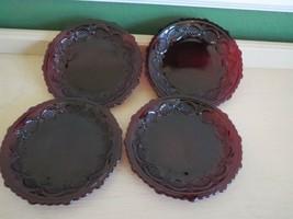 "8 Cape Cod Red Ruby Glass Bread Plate 5 1/2"" Avon - $32.18"