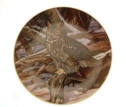Danbury Mint The Owls of North America Winter Watch owl Plate GB96 - $31.84