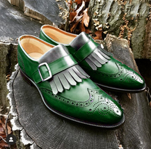 Handmade Men's Green Wing Tip, Heart Medallion, Fringe Monk Strap Leather Shoes image 1
