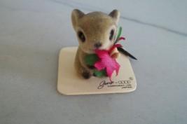Josef Originals Poinsettia Mouse Figurine Flocked Fuzzy Miniature George... - $19.99