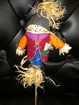 Pumpkin Scarecrow Thanksgiving Fall Harvest Decoration Halloween on Stick - $7.92
