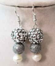 Freshwater Pearl Earrings, Beaded Silver Earrings, Dangle Earrings - $6.00