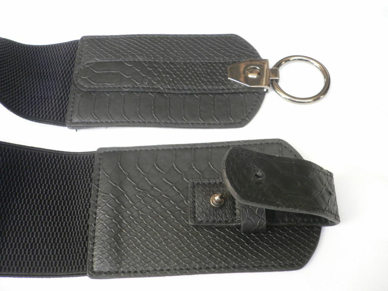 Cinturón para Dama Moda Hip Cintura Elástico Negro Ancho Imitación Piel de image 8