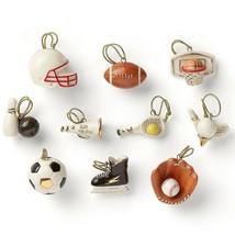 Lenox Dreaming of Sports Miniature Tree Ornaments Set 10 Football Baseba... - $99.00