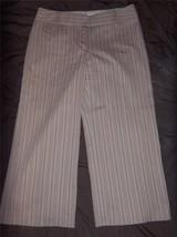 W7689 Women Express Correspondent Pink Tan Stripe Stretch Cropped Pants Capris 4 - $15.45