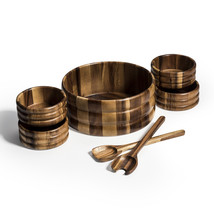 Wood Salad Bowl with Servers and Individual Bowls - 7 Piece Set - $99.95