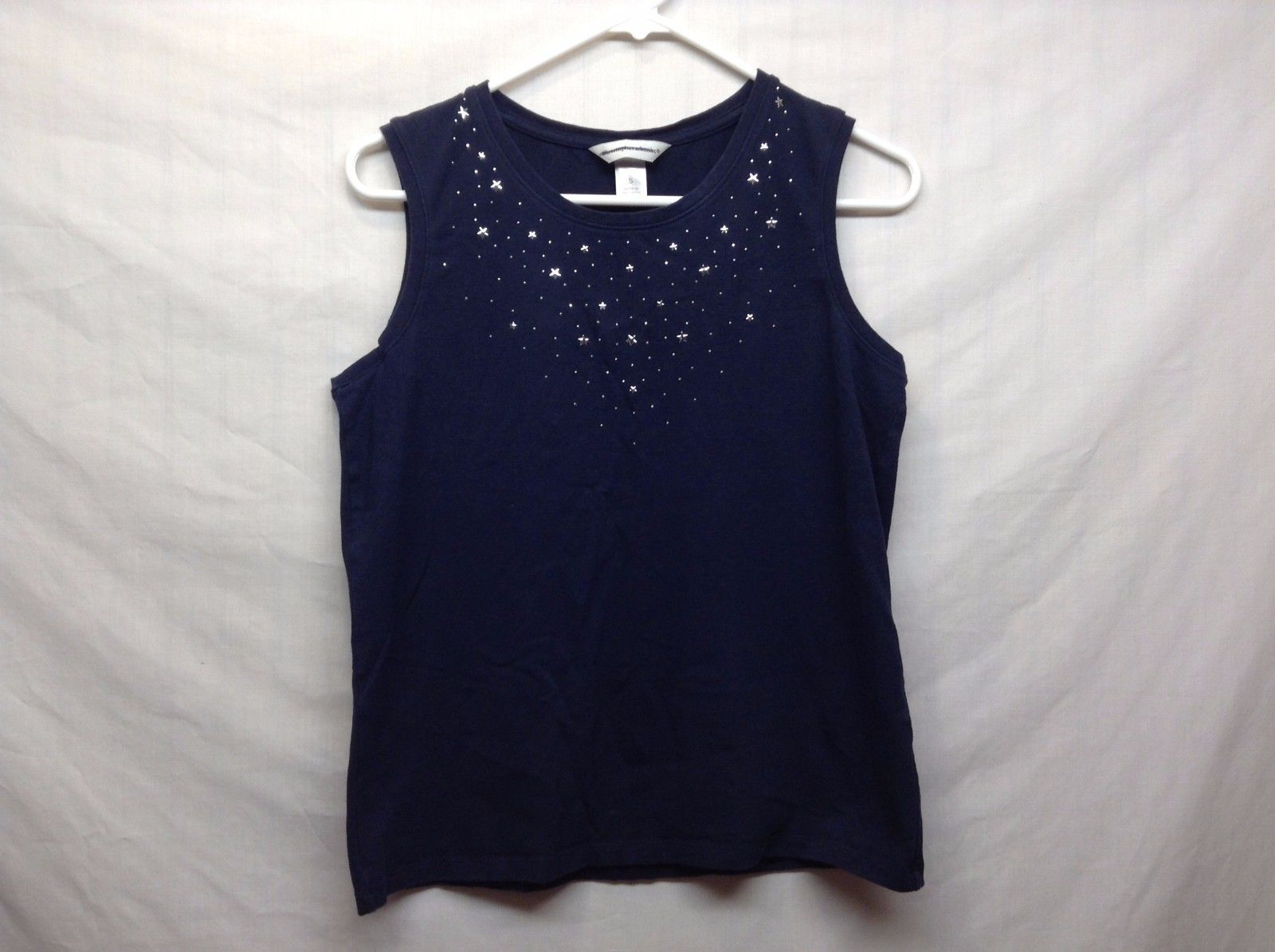 Christopher & Banks Navy Blue Tank Top w Silver Attached Star Design Sz S