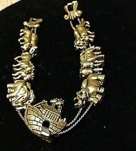 Vintage Noah's Ark Slide Bracelet 1980'S Gold - $11.63