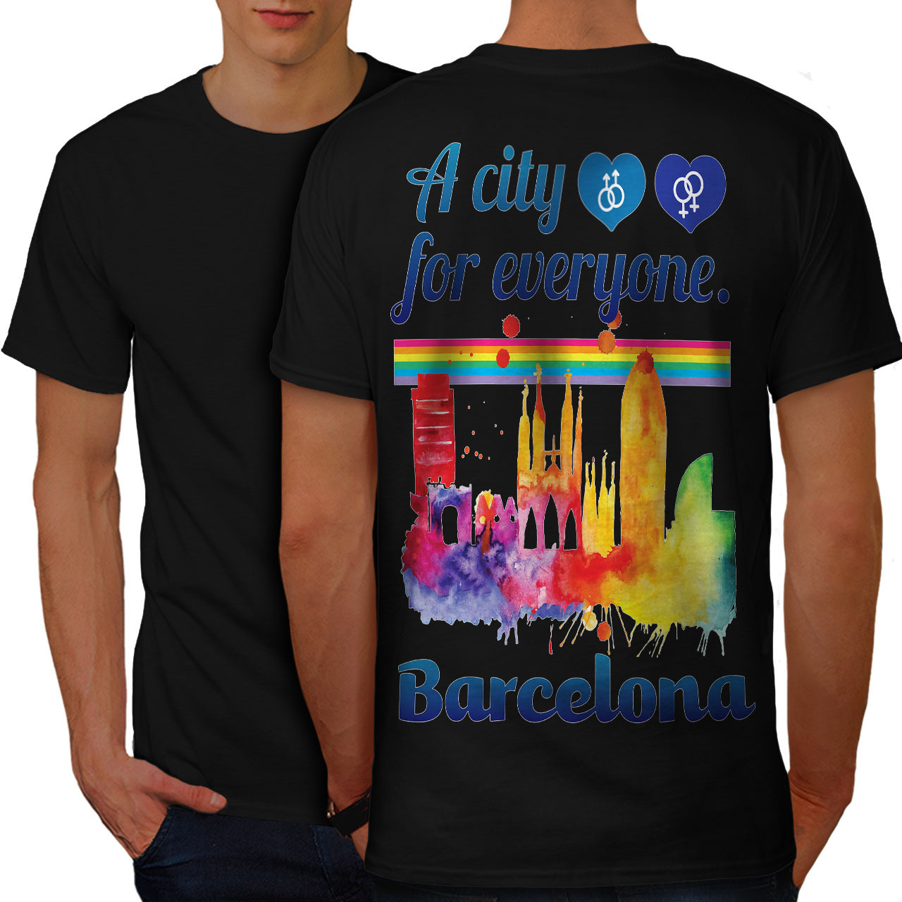 Primary image for Gay Pride Love Barcelona Shirt Spain City Men T-shirt Back