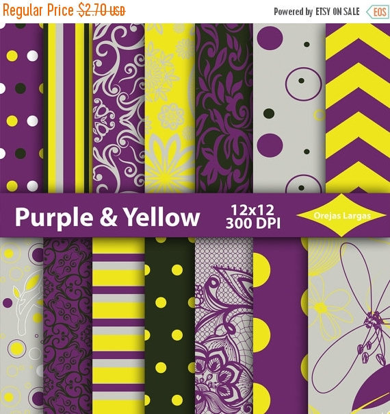 Purple Digital Paper Yellow Background And 17 Similar Items