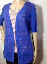 Talbots Royal Blue Knitted Cardigan w/Short Sleeves Women's Sz: M - $12.86