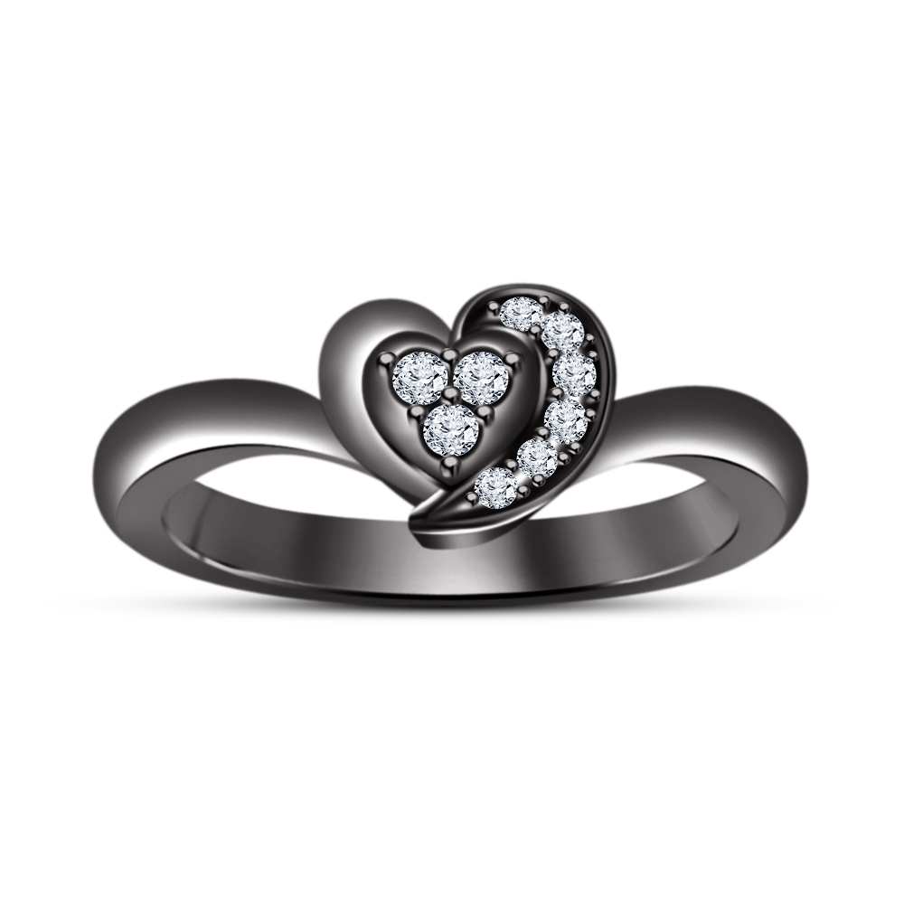 925 Sterling Silver Black Gold Finish Round Cut Diamond Heart Style Wedding Ring